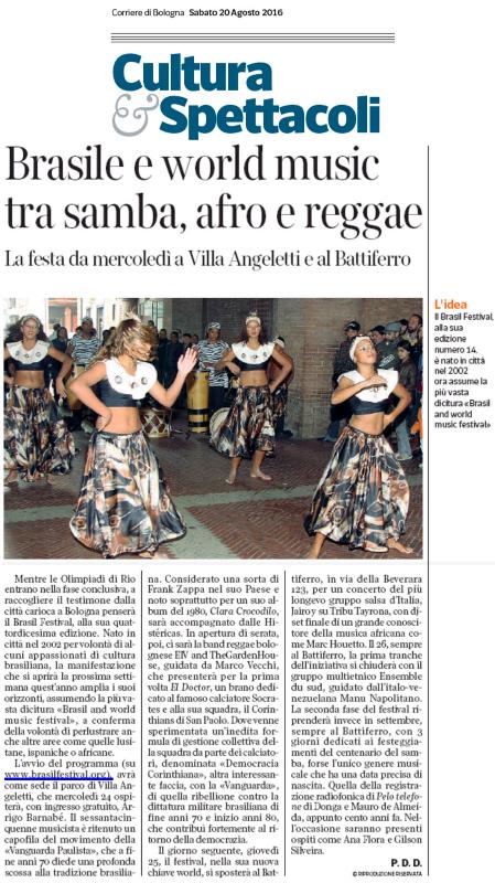 Corriere di Bologna2 - Brasil Festival 2016