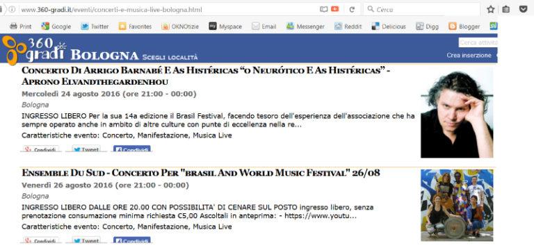 360 Bologna - Brasil Festival 2016